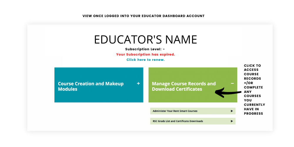 Manage Educator Course Records